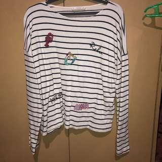 Mango White Striped Top
