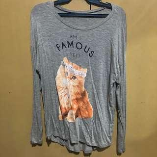 Gray Cat Long Sleeved Top