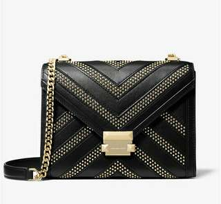 2608460169a8 Michael Kors Whitney Large Studded Leather Convertible Shoulder Bag