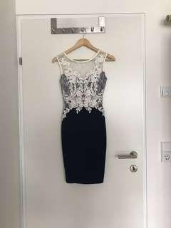 European Fitted White Lace Dress