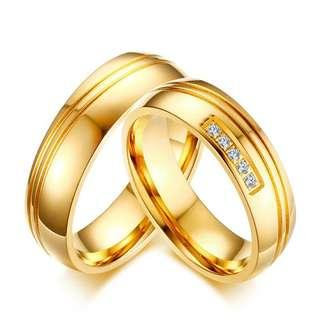 🚚 [SALES]👫PERSONALIZED | CUSTOMIZED | ENGRAVING GOLD DOUBLE LINING STAINLESS STEEL WEDDING RING BAND BIJOUX COUPLE ENGAGEMENT RING | ANNIVERSARY GIFT | ENGAGEMENT GIFT | UNISEX COUPLE JEWELRY👫