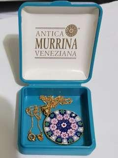 BNIB Gold murano glass necklace venetian