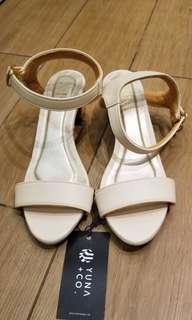 cream gold heels