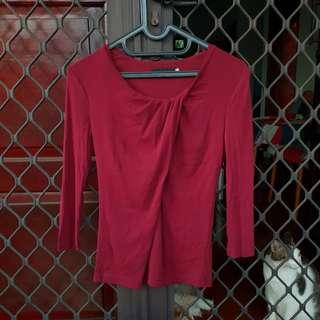 [FREE ONG] Giordano ladies blouse merah red