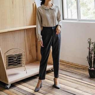 (全新) 25%羊毛 黑色休閒素色後鬆緊腰老爺褲 燙線修身毛呢西裝褲 QUEENSHOP