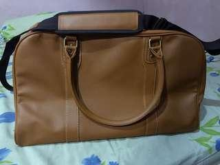 Travel Duffle Bag Leather Brown #onlinesale #onlineparty