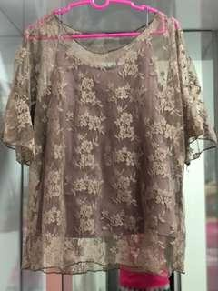 lace blouse with spagethi strap top