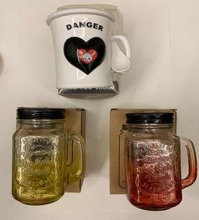 Colored Glass Mason Jars / Plastic Skull Cup with Spoon