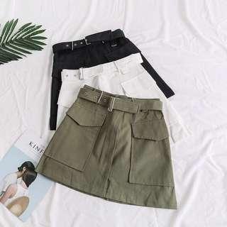 🍑: ulzzang belt a-line skirt