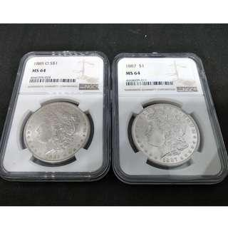 1885 - O & 1887 USA Morgan Dollar  - NGC MS 64