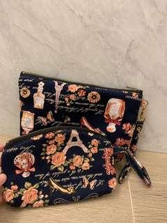 Navy floral pouches (set of 2 - large and small)