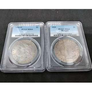 1883 - O & 1921 USA Morgan Dollar  - PCGS MS 64