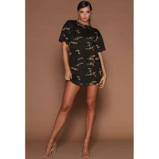 Meshki Camo T Shirt Mini Dress