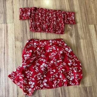 Korean Red Floral Off Shoulder Top Dress 2 piece with skirt