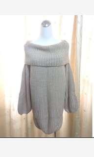 韓版粉色翻領針織長版上衣泡泡袖長袖落肩毛衣