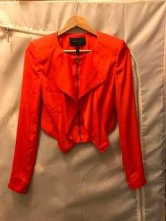 100% Authentic BCBG Maxazria Red Preston Crop Drape Jacket 紅色短身外套