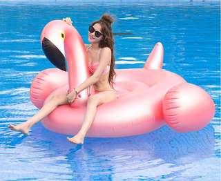 🚚 Inflatable rose gold flamingo, unicorn, dolphin floating bed floating row swimming ring inflatable mount - intl