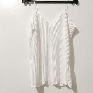 White Satin Pleated String Top