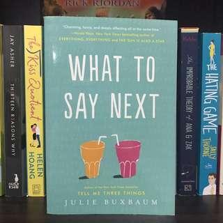 What to Say Next - JulieBuxbum
