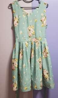 Light green with flower print Dress