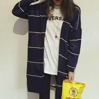 🚚 INSTOCKS Stripes Knit Cardigan in Navy