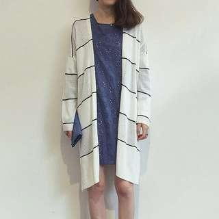 🚚 INSTOCKS Stripes Knit Cardigan in White