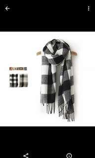 韓國文青格子頸巾wool scarf
