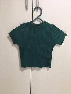 Forest green ribbed crop top
