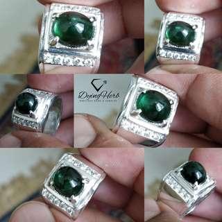 Natural Green Tourmaline Silver Ring (cincin perak)