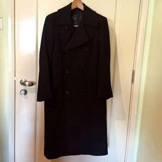 🚚 Zara Man Black Double-breasted Long Overcoat