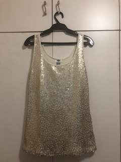 Old Navy gold sequenced shirt size large