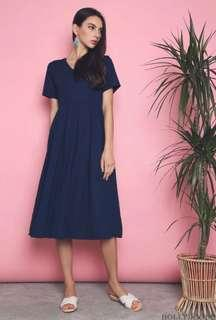 Hollyhoque Callista Pleat Midi dress in Navy