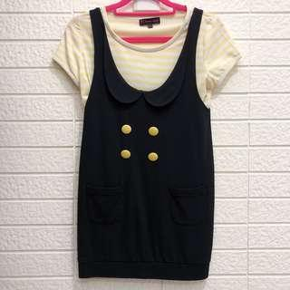 🚚 Brown Sugar 黃色條紋鈕扣假兩件連身裙 上衣