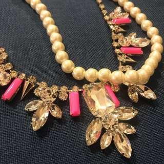 [購自韓國] 頸鏈 仿鑽石 珍珠