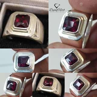 Natural Garnet Silver Ring (cincin perak)