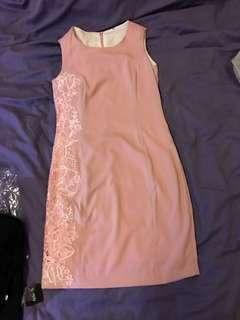 Pink Side embroidered Dress