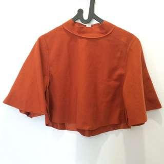 Korean Cape Blouse / Bat Wing Orange Brick Colour #CNY2019