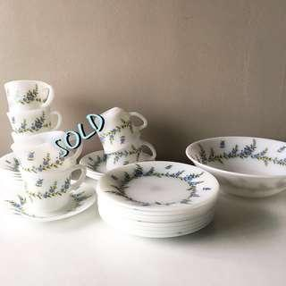 NEW Old Stock 8pc Milk Glass Side/ Dessert Plates in Blue Floral