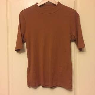 🚚 Lativ螺紋五分袖上衣 棕色上衣