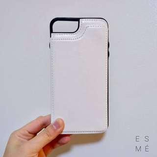 White leather iphone case for 7+/8+