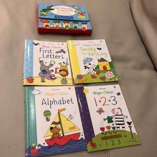 🚚 NEW 3-4T Usbourne Wipe Clean Books