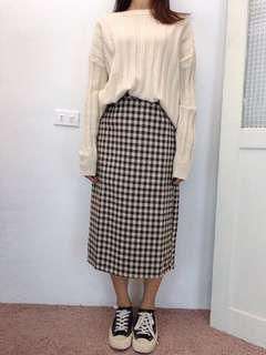 毛料格紋裙