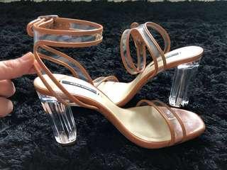 New Zara Tan Clear Block Heels