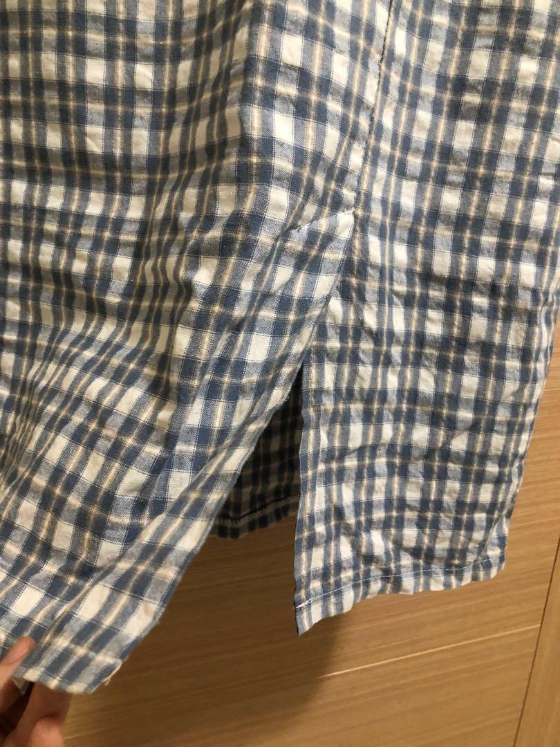 前開叉藍色格紋棉麻中裙 #格子裙 #一百均價