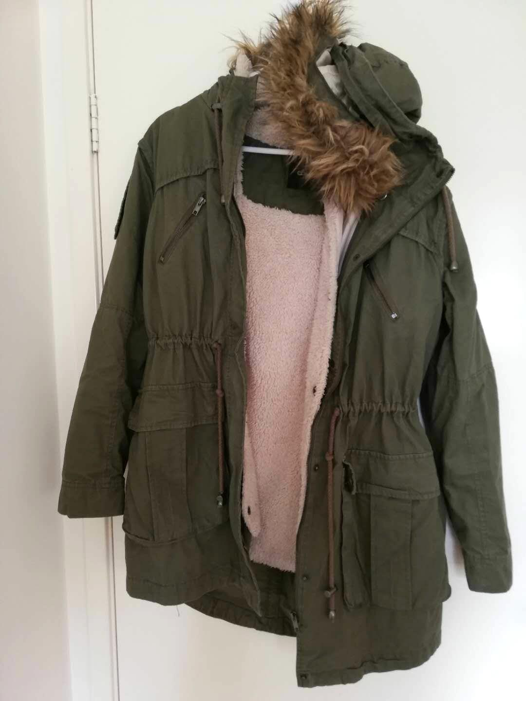ASOS Faux Fur Hooded Detachable Lined Parka - Khaki / AU 10