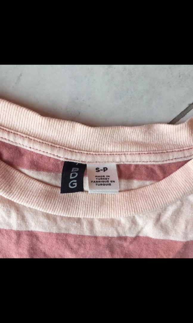 BDG Boston from Urban Outfitters oversized pink striped T-shirt