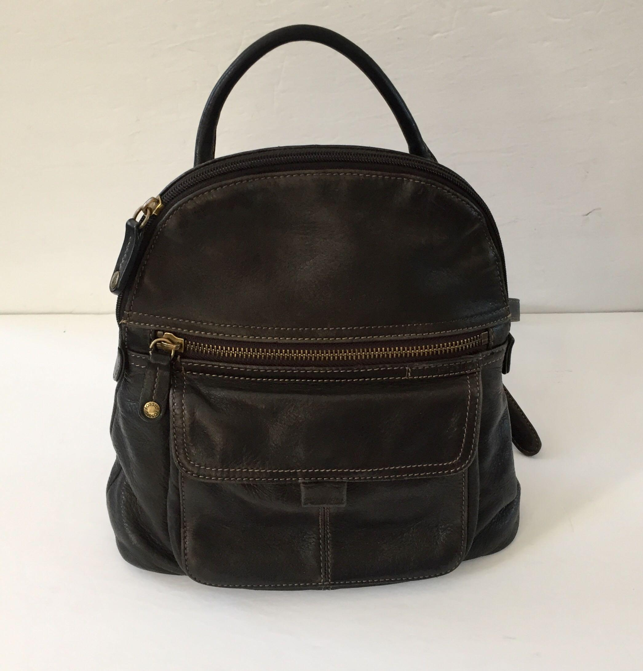 Beautiful Vintage Fossil Black Leather Backpack