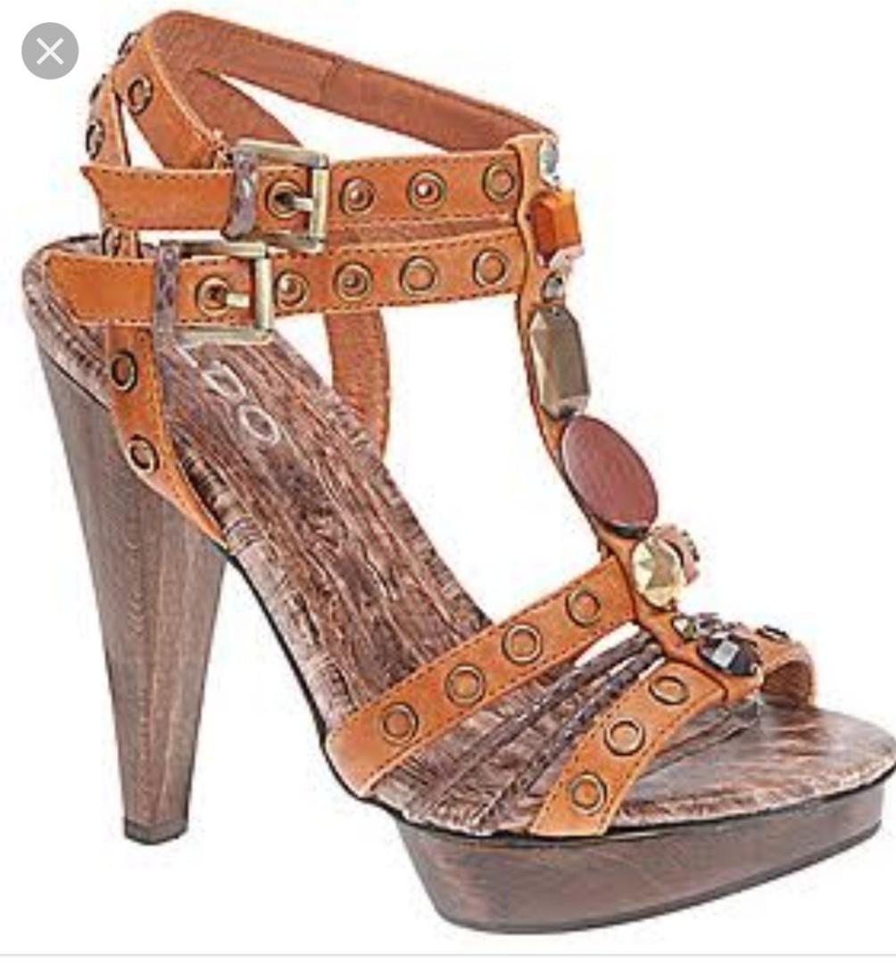 3540e5f31bd BNew Metallic Print Embellished Davydov ALDO platform sandals heels ...