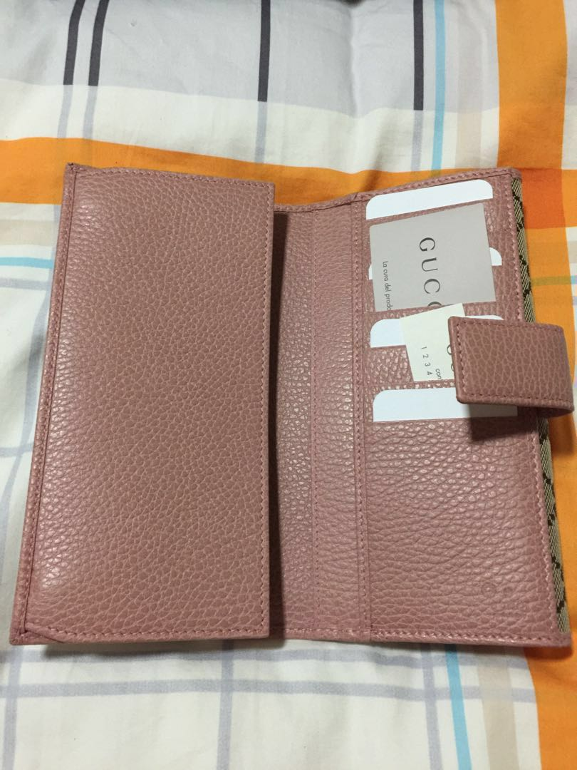 ac86e4a885a Brand New Gucci Long Wallet Monogram With Pink Trimmings
