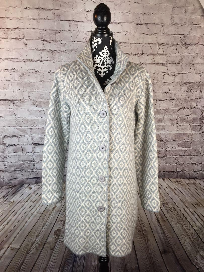 COCOGIO Long Cardigan Sweater Coat Duster Size L Wool Blend Italy Knit Abstract